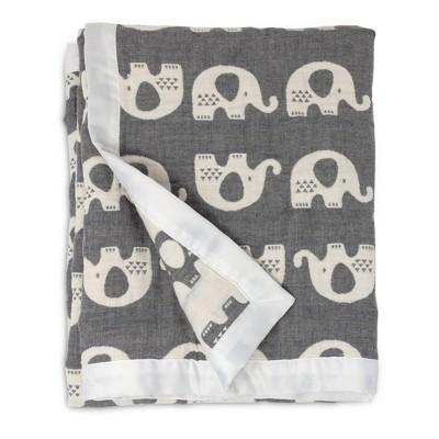 Living Textiles Baby Cotton Muslin Jacquard Blanket - Gray Elephant