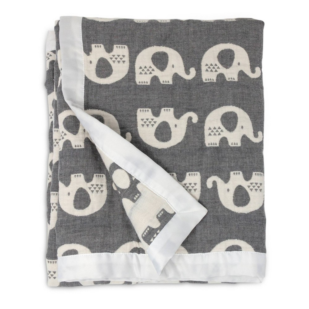 Image of Living Textiles Baby Cotton Muslin Jacquard Blanket - Gray Elephant