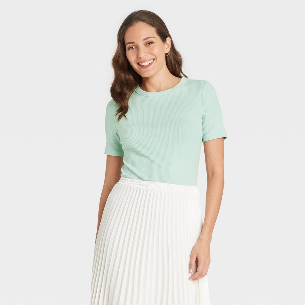 Women 39 S Short Sleeve Rib T Shirt A New Day 8482 Mint Xs
