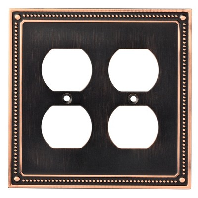 Franklin Brass Classic Beaded Double Duplex Wall Plate Bronze With Copper Highlights