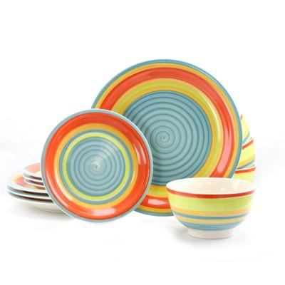 Gibson Home 12 Piece Stoneware Dinnerware Set in Rainbow Swirl
