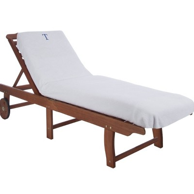 Monogrammed Patio Cotton Chaise Lounge Chair Slipcover - Blue Nile Mills