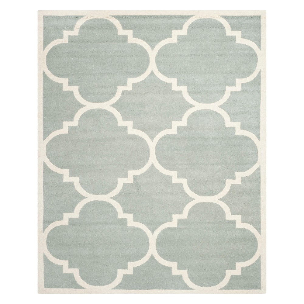 8'9X12' Quatrefoil Design Tufted Area Rug Gray/Ivory - Safavieh