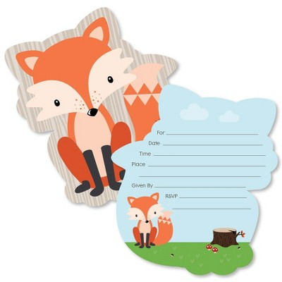 Big Dot of Happiness Fox - Shaped Fill-In Invitations - Baby Shower or Birthday Party Invitation Cards with Envelopes - Set of 12