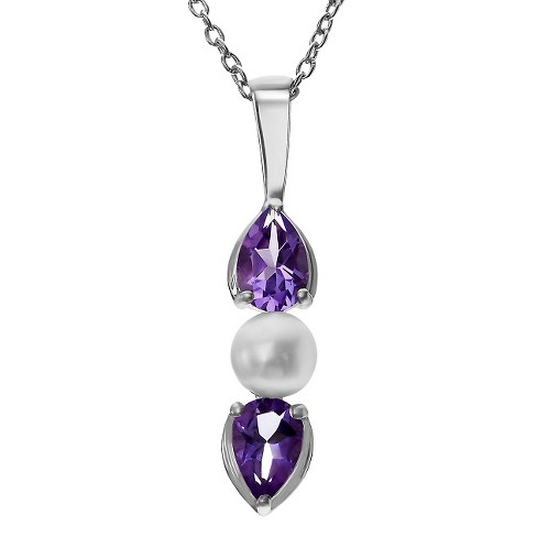 2/5 CT. T.W. Pear-Cut Amethyst Prong-Set Necklace in Sterling Silver - Purple - image 1 of 2