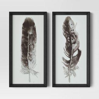 "Set of 2 10""x20"" Black Framed Print Under Glass Feathers - Threshold™"