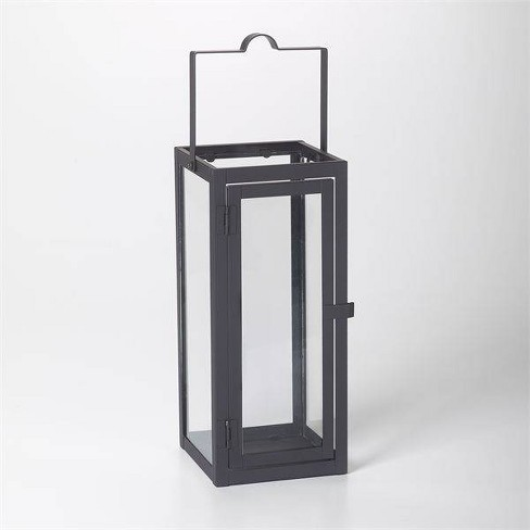 """12"""" Marco Glass Metal Outdoor Lantern with Open Top Black - Smart Living - image 1 of 4"""