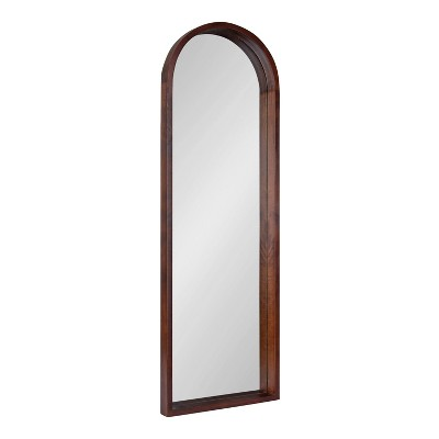 "16"" x 48"" Hutton Wood Framed Arch Decorative Wall Mirror Walnut Brown - Kate & Laurel All Things Decor"