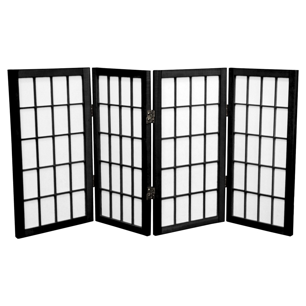 Image of 2 ft. Tall Desktop Window Pane Shoji Screen - Black (4 Panels) - Oriental Furniture