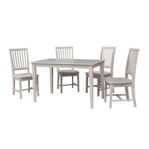 Awesome Solid Wood 30 X 48 Dining Table And 4 Mission Chairs Washed Gray Taupe 5Pc Set International Concepts Andrewgaddart Wooden Chair Designs For Living Room Andrewgaddartcom