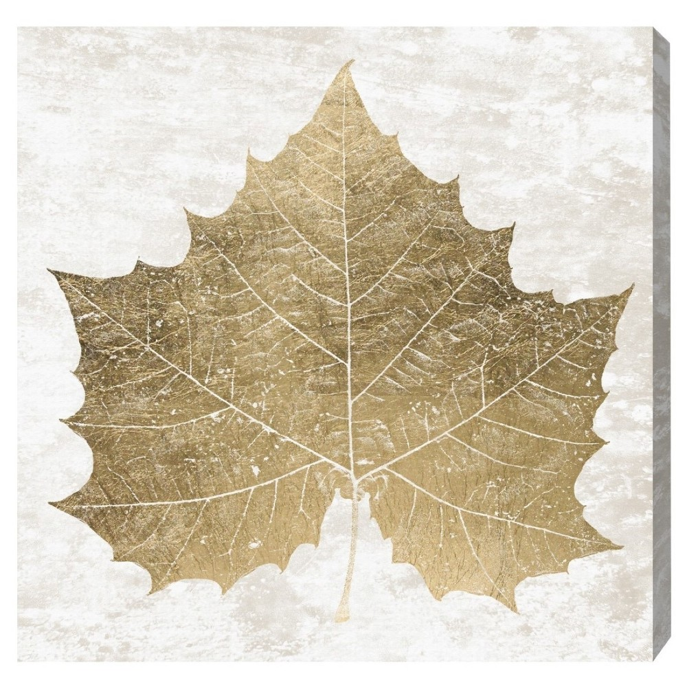"Image of ""Oliver Gal Unframed Wall """"Sycamore Gold Leaf"""" Canvas Art (20x20)"""