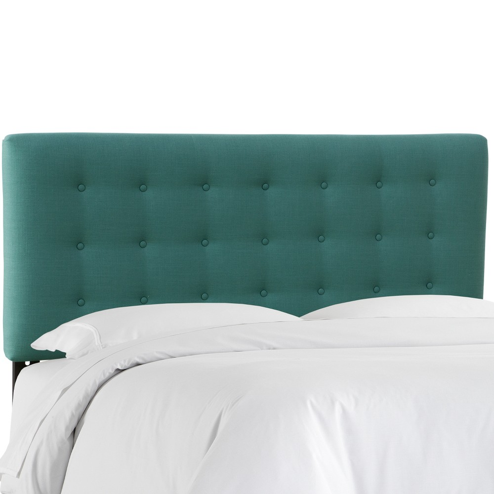 Twin Upholstered Button Headboard Teal Linen - Skyline Furniture