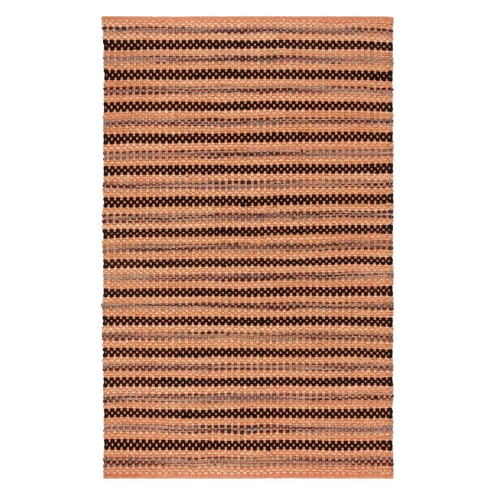 5'X8' Stripe Woven Area Rug Orange/Black - Safavieh
