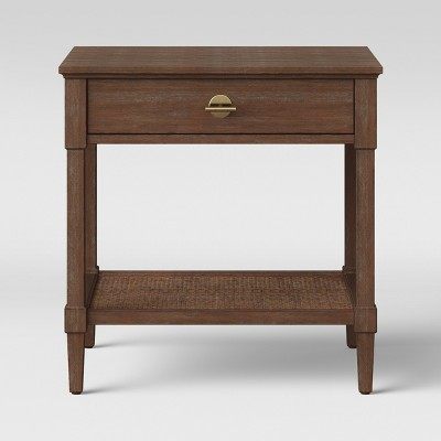 Charleston Wicker Wood Nightstand Brown - Threshold™