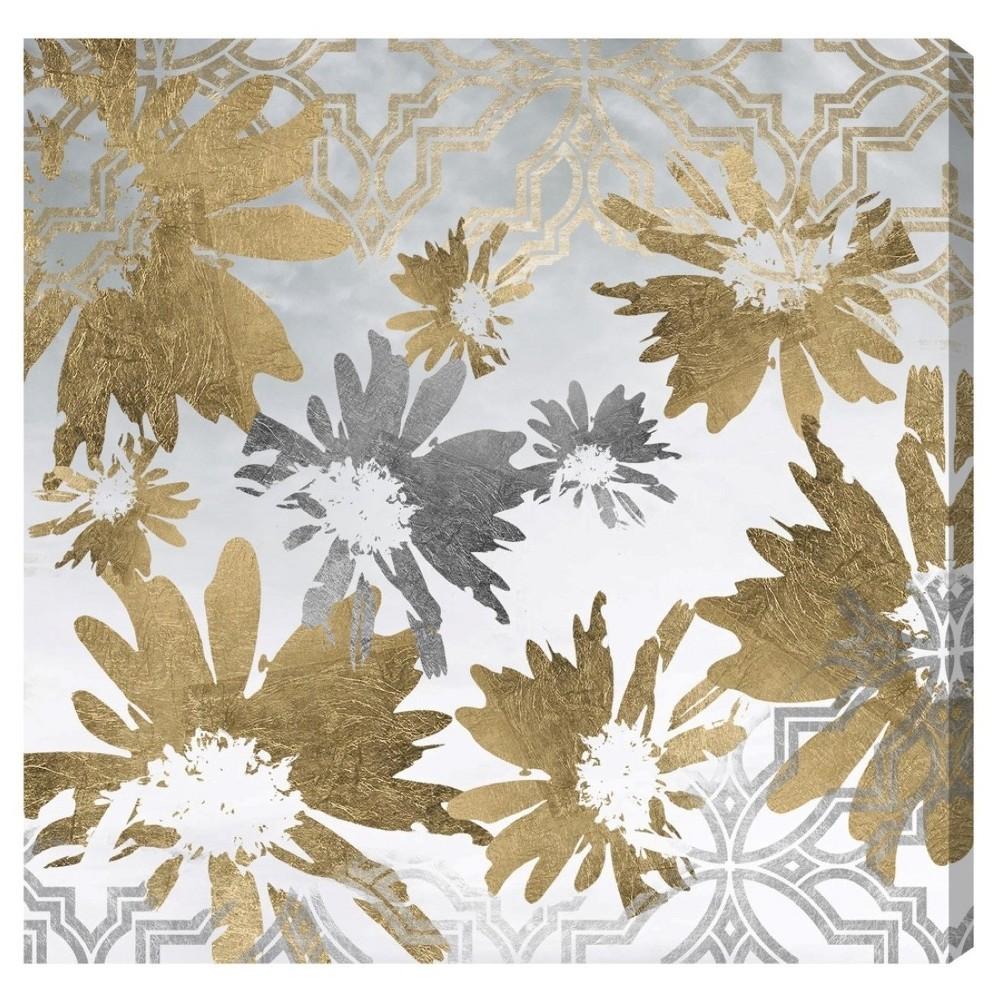 "Image of ""Oliver Gal Unframed Wall """"Golden Garden"""" Canvas Art (20x20), Silver Gold"""