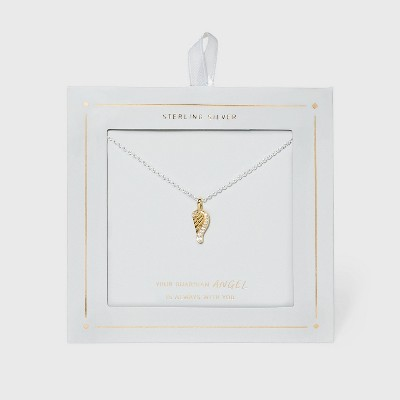 Sterling Silver Gold Plated Angel Wing Necklace with Cubic Zirconia