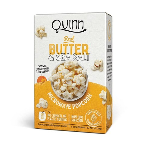 Quinn Butter And Sea Salt Popcorn 3 5oz 2ct Target