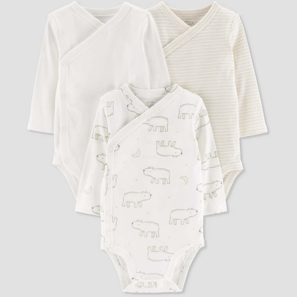 Baby 3pk Bear and Moon Print Bodysuit - Little Planet by Carter's Taupe 12M, Infant Unisex, Beige