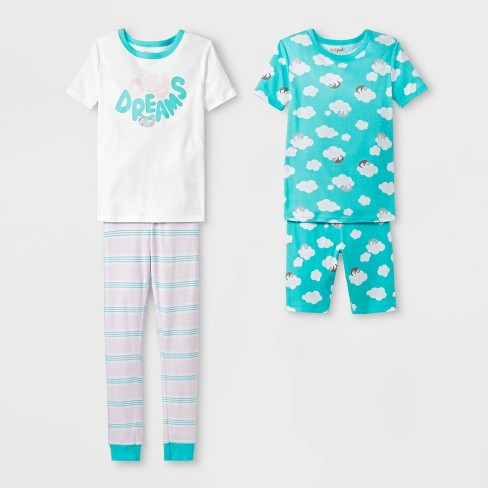 34c75a456 Girls  Tight Cozy Dreams Pajama Set - Cat   Jack™ White 12   Target