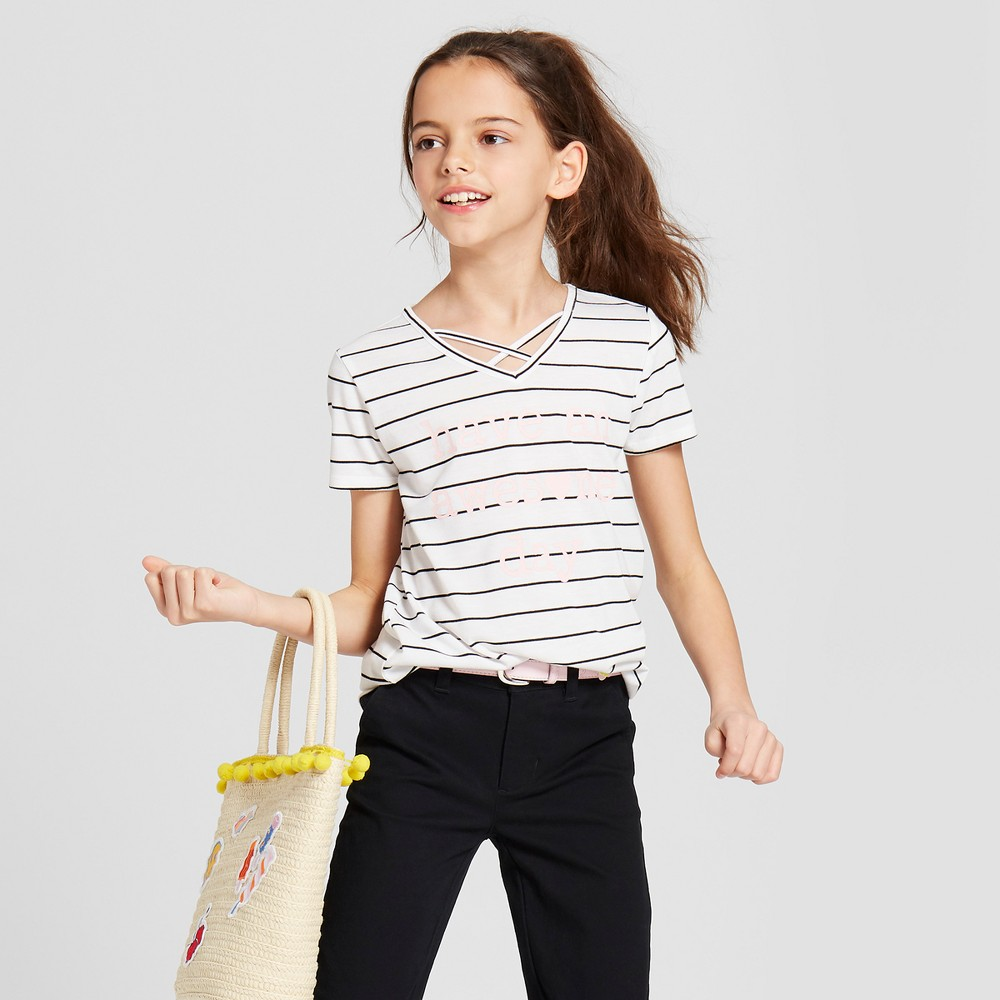 Grayson Social Girls' 'Have An Awesome Day' Striped Short Sleeve T-Shirt - Black/White M