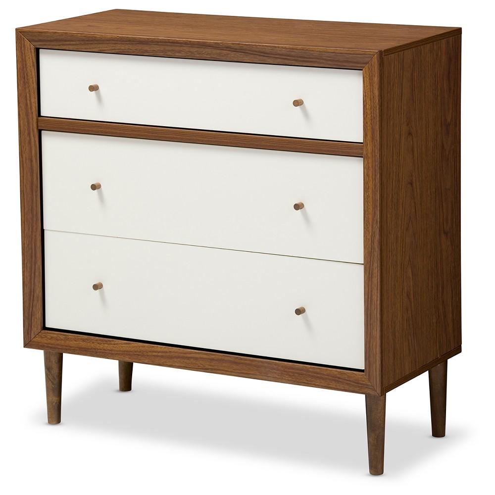 Harlow Mid-Century Modern Scandinavian Style Wood 3-Drawer Chest - White And Walnut (Brown) - Baxton Studio