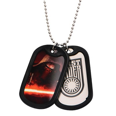 """Star Wars First Order Kylo Ren Stainless Steel Double Dog Tag Pendant with Rubber Silencers (22"""")"""