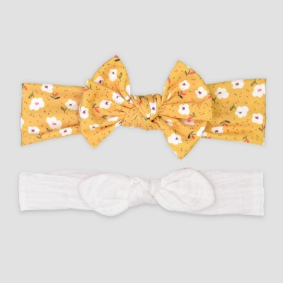 Baby Girls' 2pk Jersey Bows Headwrap - Just One You® made by carter's Yellow