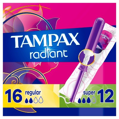Tampax Radiant Duopack Regular/Super Absorbency Unscented Plastic Tampons