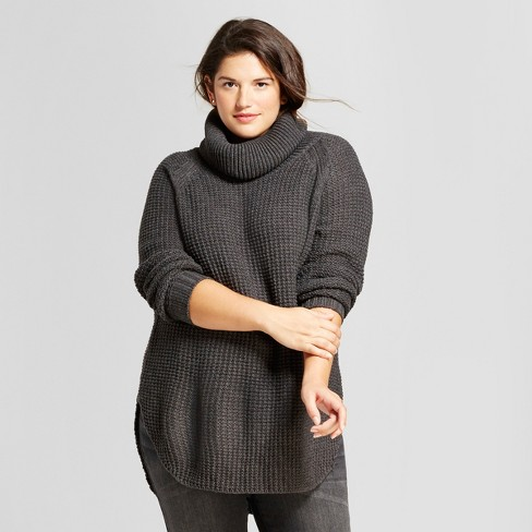 d3b9ec4e13a Women s Plus Size Chunky Cowlneck Sweater - A New Day™ Charcoal 2X   Target