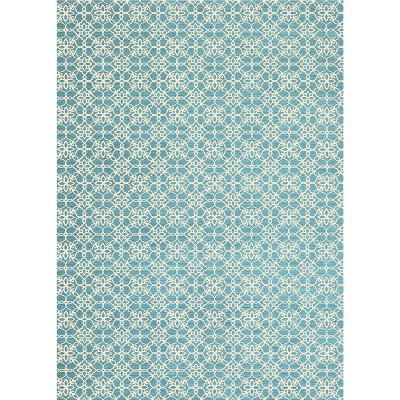 Aqua Floral Woven Area Rug 5'X7' - Ruggable