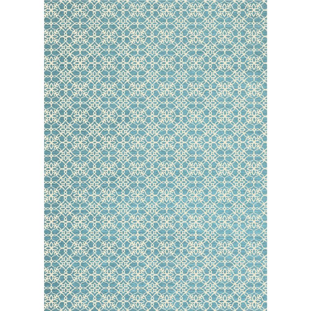 Aqua (Blue) Floral Woven Area Rug 5'X7' - Ruggable