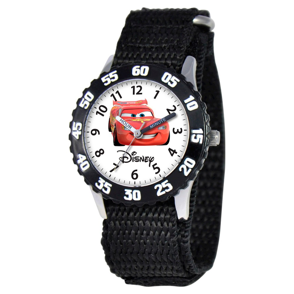 Image of Boys' Disney Cars Stainless Steel Time Teacher with Bezel Watch - Black, Boy's