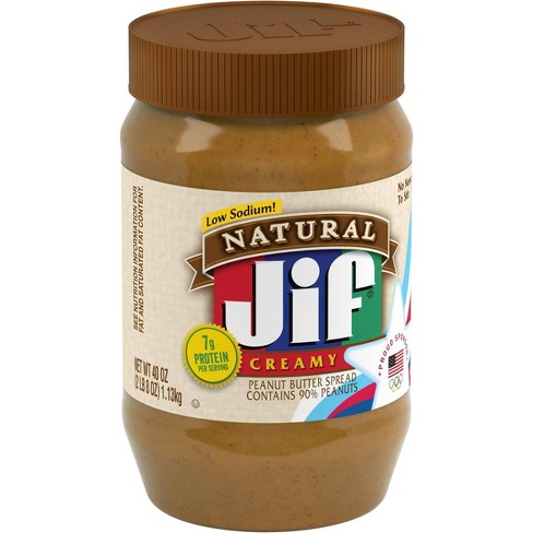 Jif Natural Creamy Peanut Butter - 40oz - image 1 of 4