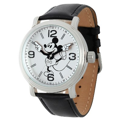 Men's Disney Mickey Mouse Shinny Vintage Articulating Watch with Alloy Case - Black