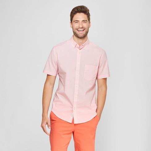 1244c6fe Men's Short Sleeve Soft Wash Slim Fit Button-Down Shirt - Goodfellow & Co™  Georgia Peach : Target