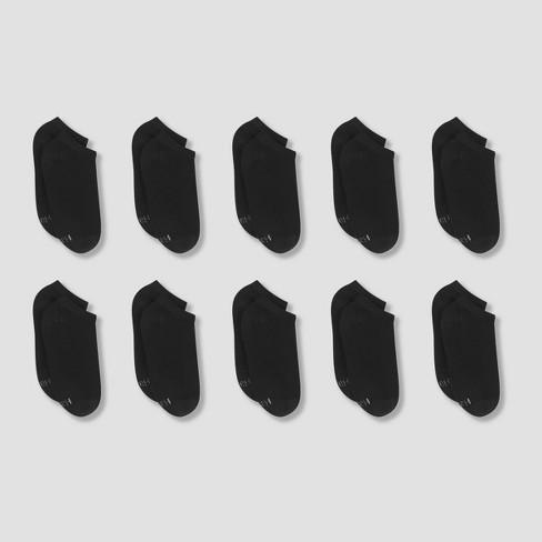 Women's Hanes 10pk Cushioned Ankle Socks - Black 5-9 - image 1 of 2