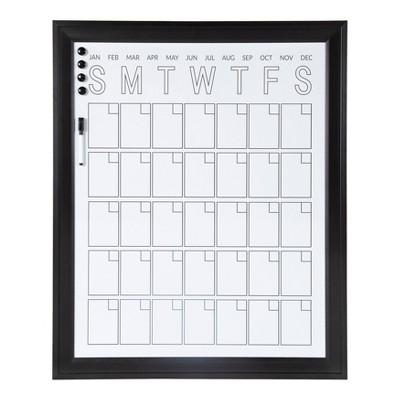 """28"""" x 34"""" Bosc Framed Magnetic Dry Erase Vertical Monthly Calendar Black - DesignOvation"""