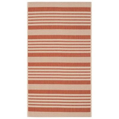 Santorini Stripe Rectangle 2'7  X 5' Outdoor Rug - Terracotta / Beige - Safavieh®