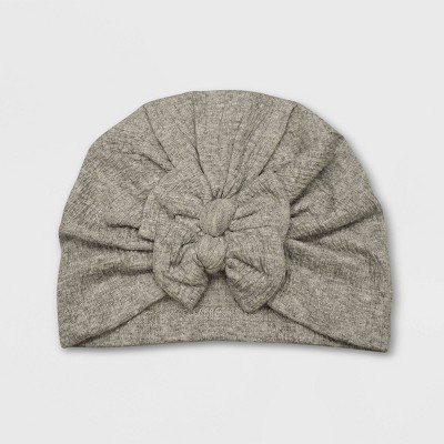 Baby Girls' Double Bow Turban Hat - Cat & Jack™ Heather Gray 0-6M
