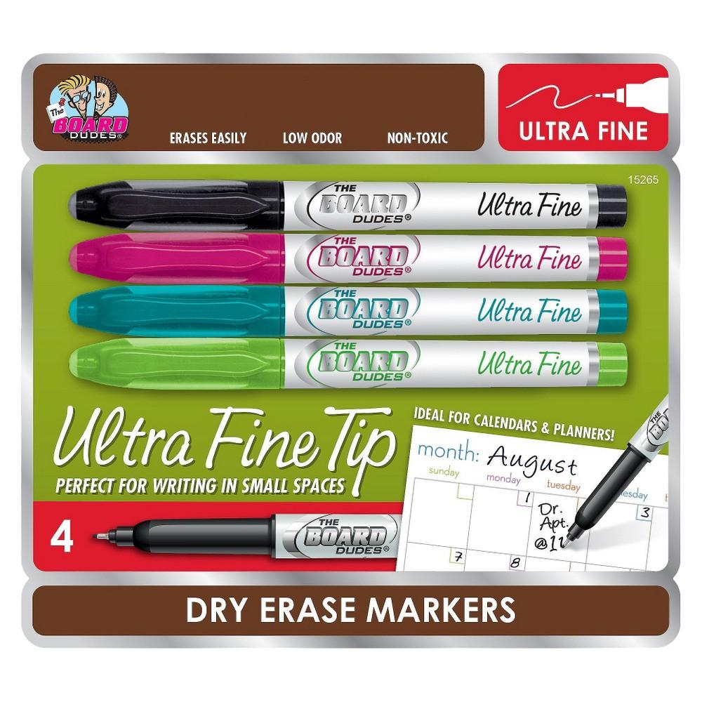 The Board Dudes Dry Erase Marker Black Ultra Fine 4 ea