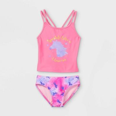 Girls' Sparkle Like A Unicorn Tankini Set - Cat & Jack™ Pink