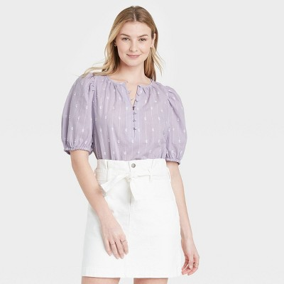 Women's Puff Elbow Sleeve Button-Down Blouse - Universal Thread™