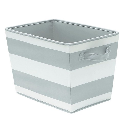 Large Striped Fabric Toy Storage Bin Gray - Pillowfort™ - image 1 of 1