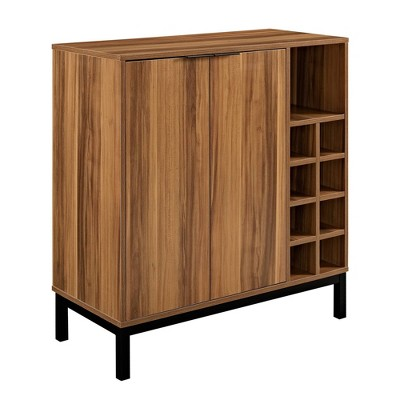 Modern Industrial Dining Bar Cabinet with Wine Storage Dark Teak - Saracina Home