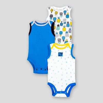 Lamaze Baby Boys' 3pk Pineapple Sleeveless Organic Cotton Bodysuit - Blue/White/Yellow 9M