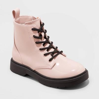 Girls' Zoe Zipper Slip-On Lace-Up Combat Boots - art class™