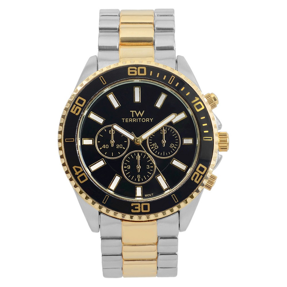 Men's Territory Classy Round Face Metal Link Watch - Black, Silver