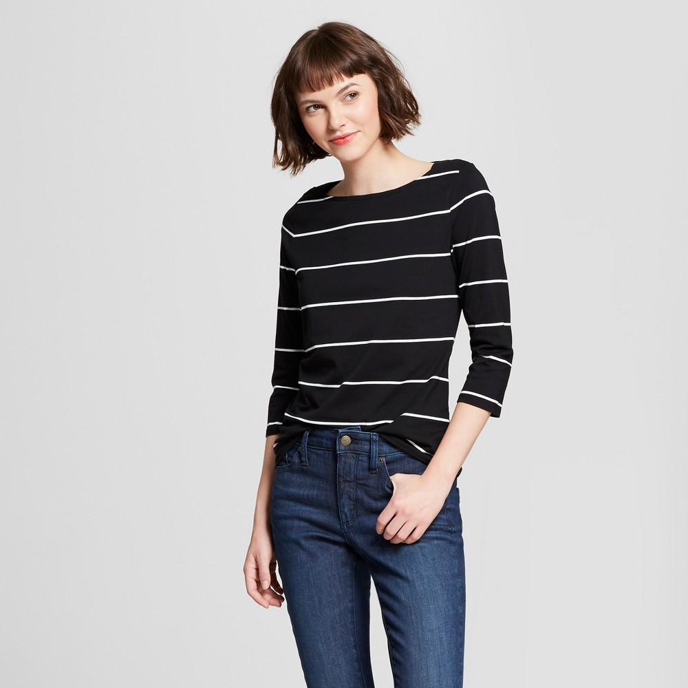 Women's 3/4 Sleeve Striped Boatneck T-Shirt - A New Day Black L
