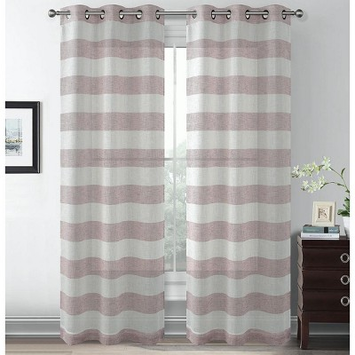 Kate Aurora Metallic Semi Sheer Rugby Striped Grommet Top Window Curtains