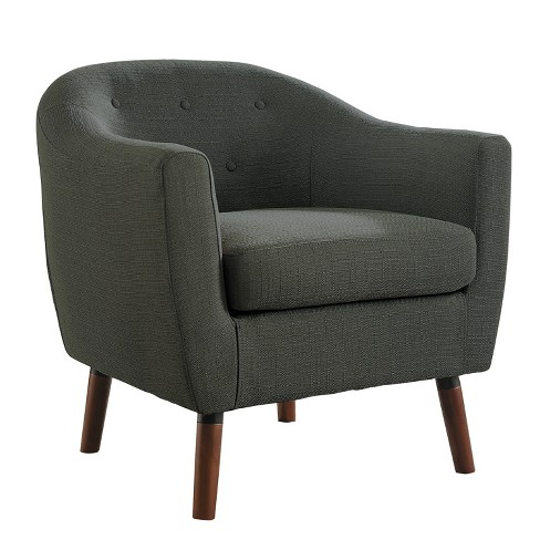Homelegance 31 Inch Lucille Collection Classic Polyester Fabric Single Living Room Accent Barrel Chair, Gray : Target